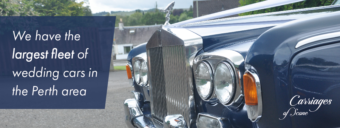Jaguar Sovereign X300 LWB wedding car with white text ' We have the largest fleet of wedding cars in the Perth area'