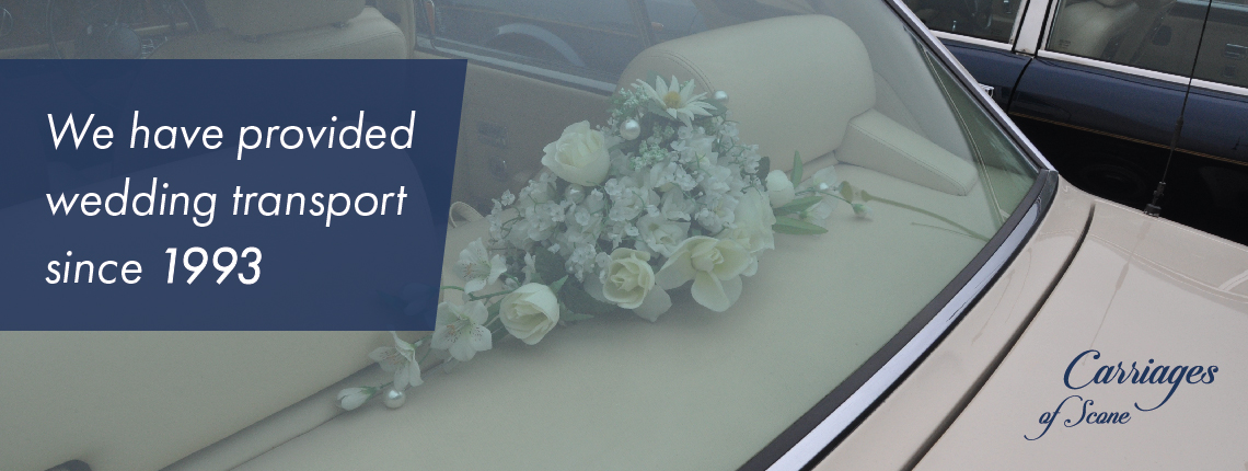 Rolls-Royce-Silver-Spirit image with white text 'We have provided wedding transport since 1993'