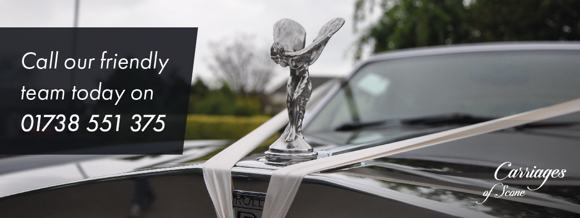 Rolls Royce wedding car with white text 'Call our friendly team today on 01738 551 375'