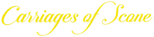 Carriages of Scone logo in yellow writing